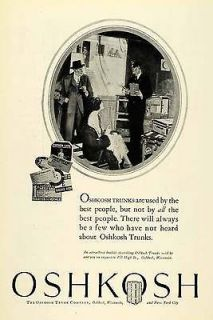 1925 Ad Oshkosh Wisconsin Trunks French Line Cunard Luggage Travel