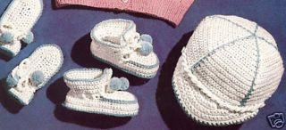 Vintage Baby Boy Cap Booties Mittens Crochet Pattern b