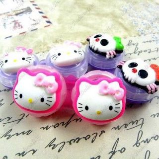 Kitty Upick Style Cute Cat Cartoon Contact Lens Case Eye Care Set