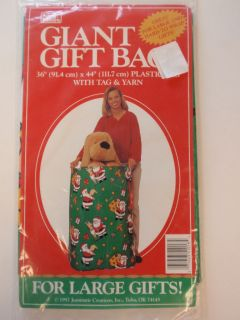 1997 Jeanmarie Creations Giant Plastic Santa Claus Gift Bag Large