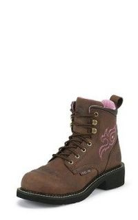 NIB Womens Justin WKL991 Brown Lace Up Steel Toe Electrical Hazard