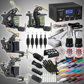 Complete Pro Tattoo Kit 22 Color Inks Power Supply Machine Gun Needles