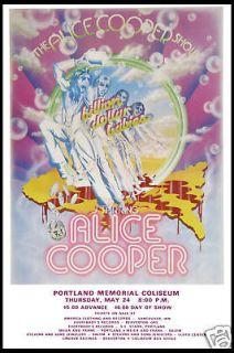 Alice Cooper at Portland Memorial Concert Poster 1973