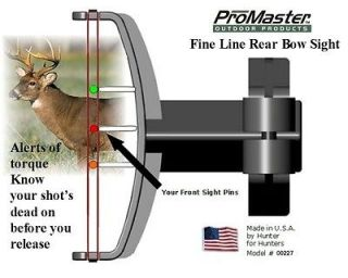 Compound Rear Bow Sight alerts of torque, works with your front sight
