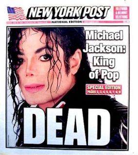 Michael Jackson Newspaper New York Post 2009 Mint MJ Thriller King Of
