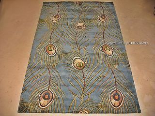 Modern Designer Peacock Feathers Plume Blue Green Decor Wool Area Rug