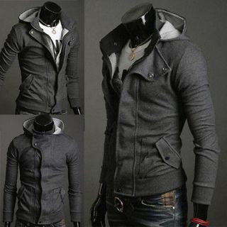 NWT Mens Slim Top Designed Sexy Hoody Hooded Jacket Coat Tops Gray M