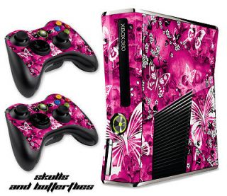 DECAL COVER FREE SHIP FOR NEW XBOX 360 SLIM CONTROLLER MOD PINK SKULLS