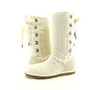 Womens Shoes UGG Australia Heirloom Lace Up Cotton Boot Natural *New*