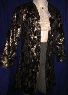 Black Velvet & Gold Scrolled Rococo Frock / King/ Colonial Coat 40