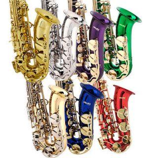 Mendini Concert Band Alto Saxophone Sax ~Gold Silver Blue +Tuner+Case+