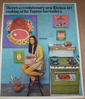 1968 advertising page   Tappan Gas Ranges stove oven MOD kitchen art