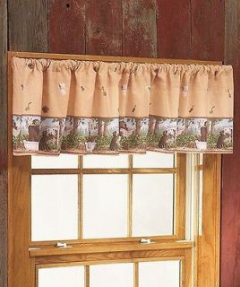Woods Whimsical Bear Moose Cabin Lodge Bathroom Window Curtain Valance