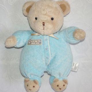 BLUE BABY BOY BEAR Rattle Plush BEAR FEET SLIPPERS Baby Toy Carters