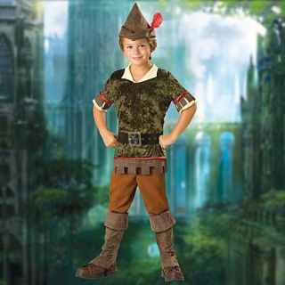 Robin Hood Boys Ren Faire Costume w/ Hat & Boot Covers