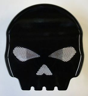 BLACK CUSTOM SKULL HORN COVER 4 HARLEY DAVIDSON TWIN CAM / EVO SOFTAIL