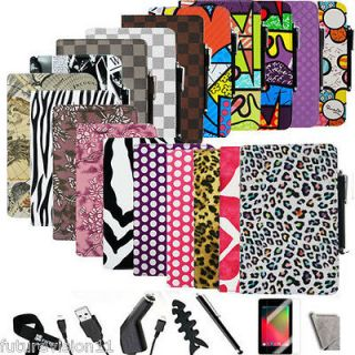 Kindle Fire HD 7 Lleather Folio Case Cover/Car Charger/USB Cable