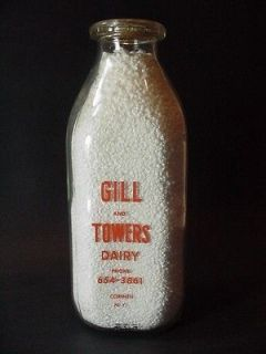 Gill and Towers Dairy, Corinth, NY Quart Glass Milk Bottle w a Milk
