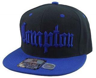 COMPTON 3D EMBROIDERED FLAT BILL SNAPBACK BASEBALL CAP HAT BLACK/ROYAL