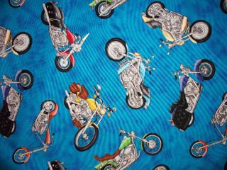 MOTORCYCLE HOGS HARLEYS BIKE CHOPPERS COTTON FABRIC FQ