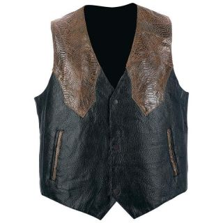 NWT Giovanni Navarre Mens Brown Black Leather Motorcycle Vest Western