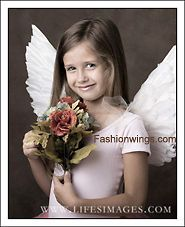 Childrens up pointing costume feather wings w/halo Fairy Angel stage