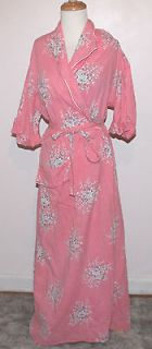 Vintage 30s 40s Pink Lilly of The Valley Roses Cotton Bath Robe
