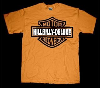 HILLBILLY DELUXE MOTOR REDNECK BAR AND SHIELD T SHIRT PURECOUNTRY