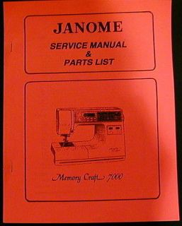 Janome Memory Craft 7000 Sewing Machine Service Manual & Parts List