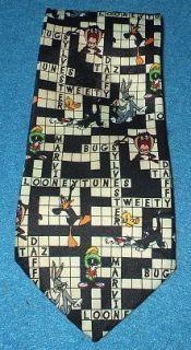 Crossword Puzzle Looney Tunes Polyester Bugs Bunny Marvin Martian Tie