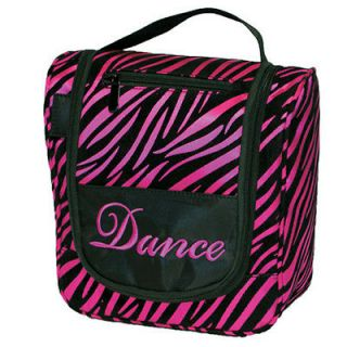 Hot Pink Zebra Cosmetic Travel Bag with Dance Embroidery   BG40