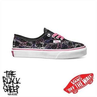 VANS AUTHENTIC (HELLO KITTY) BLACK KIDS SHOES *SALE NEW SLIM CARTOON