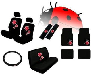 Ladybug 15pc Car Seat Covers Bench Carpet Floor Mats Interior Set CS