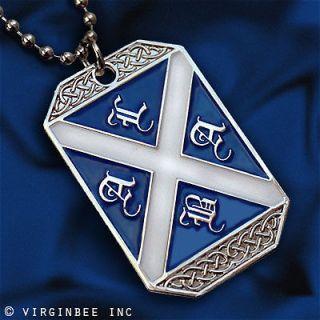 FLAG SAINT ANDREWS CROSS ALBA DOG TAG PENDANT BALL CHAIN NECKLACE