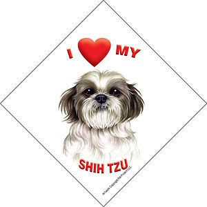 Love my SHIH TZU Dog Puppy Cut Sign for Car Window