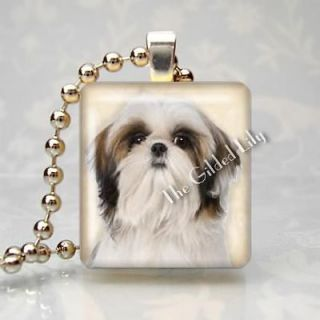 SHIH TZU DOG BREED PUPPY PET Scrabble Tile Altered Art Pendant Jewelry
