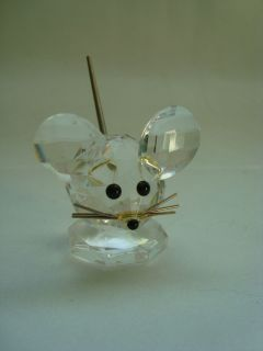 Swarovsky Crystal Mouse Small Figurine Spring Coil Tail Gold Whiskers