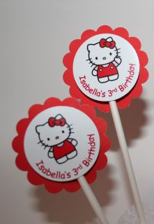 12 Personalized Hello Kitty Cupcake Party Toppers Picks / Food Picks