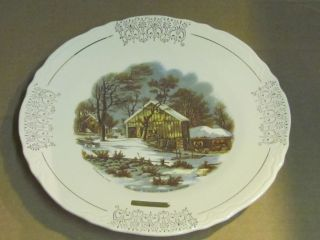 Vintage Currier & Ives Collector Plate The Old Homestead In Winter