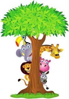 Choose Size   SAFARI ANIMALS TREE Decal Removable WALL STICKER Decor