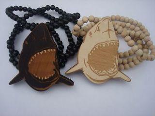 Hip Hop shark Pendants Wood Rosary Bead Necklaces 36U choose color