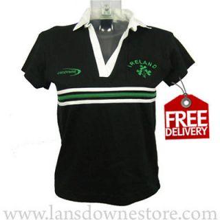 Ladies Irish Lansdowne Black Cotton Rugby Shirt, FREE WORLDWIDE