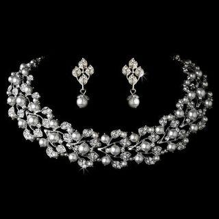 Bridal Wedding Jewelry Set Rhinestone Pearl Leaf White