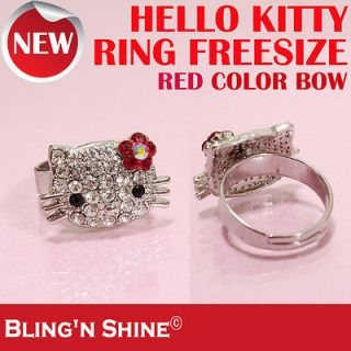 Cute Face Hello Kitty Ring Swarovski Crystal Red Flower Bow High