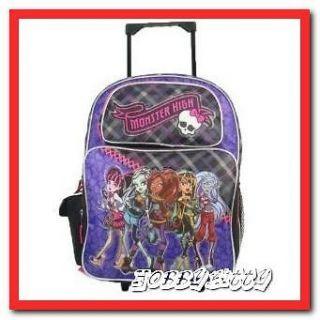 Monster High School Roller Backpack Group 16 Large Rolling Bag Purple