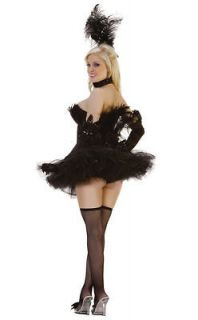 Sexy Womens SEQUIN BLACK SWAN Costume Starline Mystery House Fancy