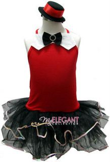 Red Jazz Dance Girls Costume Dress Ballet Leotard Tutu Arm Mitts Hat 2