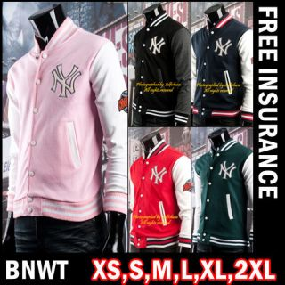 BNWT NY Women Girl Varsity College Leterman Baseball Jacket Pink US