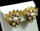 Vintage Faux Pearl & AB Crystal Rhinestone Clip Earrings Gold Tone