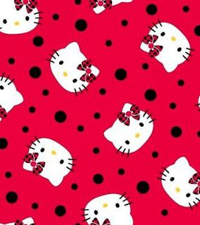 Newly listed Hello Kitty Faces on Lady Bug Polka Dots Fabric Fat